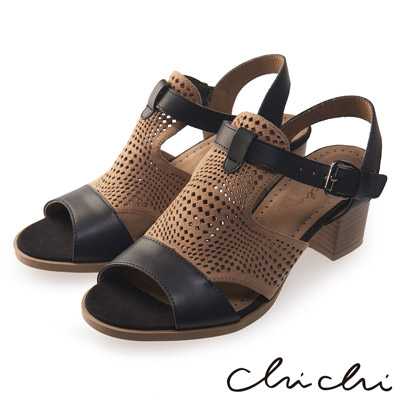 Chichi 洞洞擦色扣環粗跟涼鞋*黑色