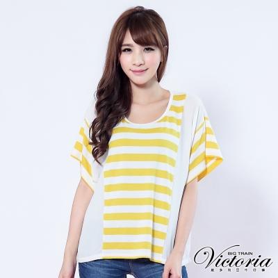 Victoria 條紋拼接雪紡傘狀TEE-女-黃