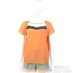 San Andres 橘色蕾絲飾短袖上衣