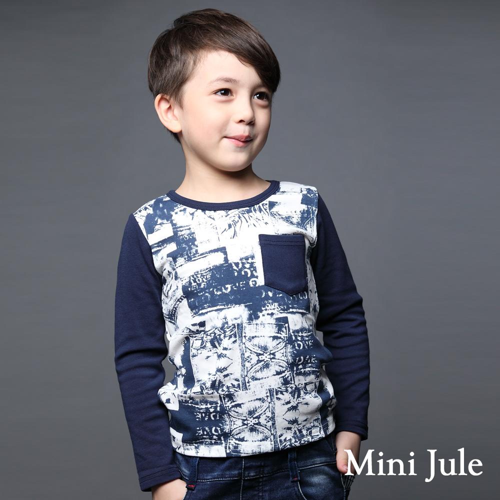 Mini Jule-上衣 斑駁印圖單口袋棉質T恤(深藍)