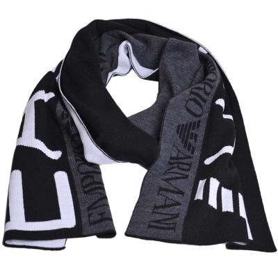 EMPORIO ARMANI EA7大字母LOGO高質感圍巾(黑/深灰)