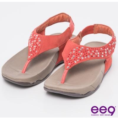 ee9 率性風采~T字裸感閃耀星光麂皮鑲嵌鑽飾夾腳涼鞋~紅色