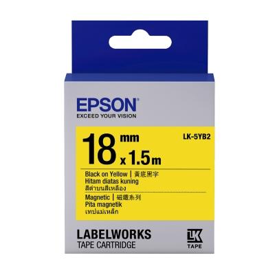 EPSON C53S655419 LK-5YB2磁鐵系列黃底黑字標籤帶(寬度18mm)