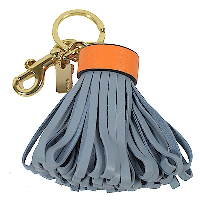 COACH牛皮草裙鑰匙圈吊飾(淺藍)