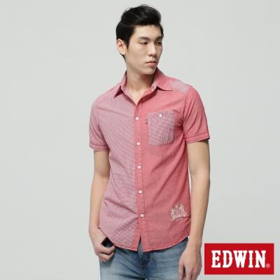 EDWIN-襯衫-格紋拼接短袖襯衫-男-紅色