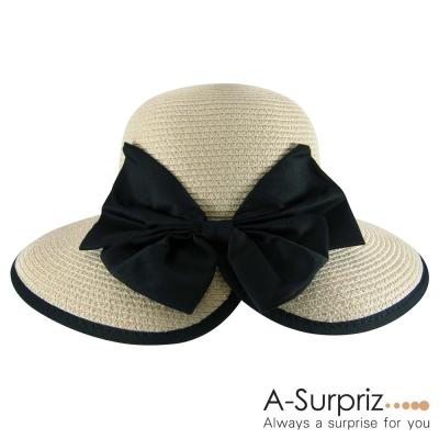 A-Surpriz-名媛大蝴蝶結開口遮陽帽-卡其