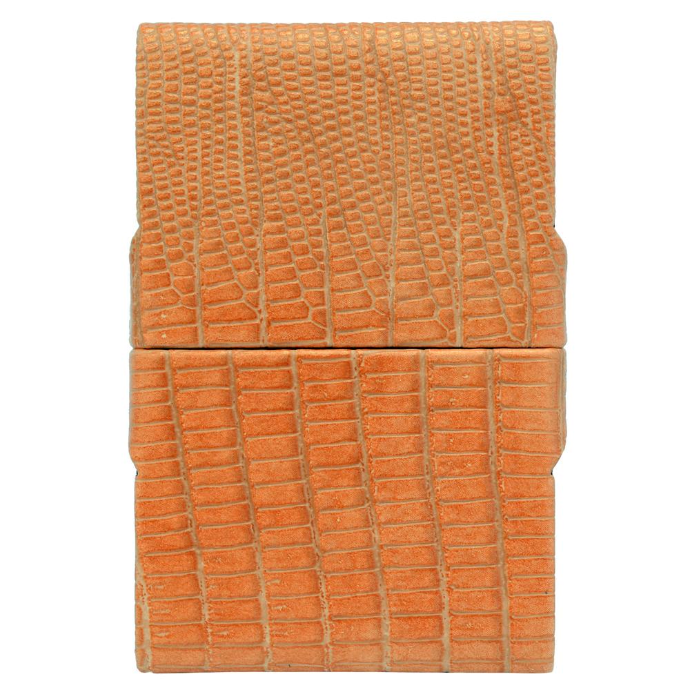 GIORGIO FEDON 1919  品味辦公 鱷紋短雙開名片盒-橘