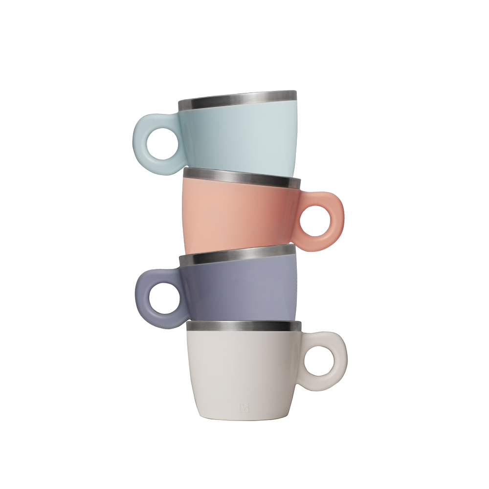 JVR 韓國原裝 Milky馬卡龍不銹鋼馬克杯4入組220ml(紫/粉/白/藍)