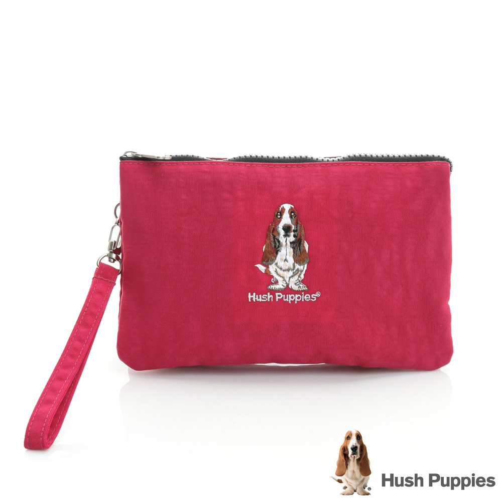 Hush Puppies 繽紛尼龍手拿包 -桃紅色