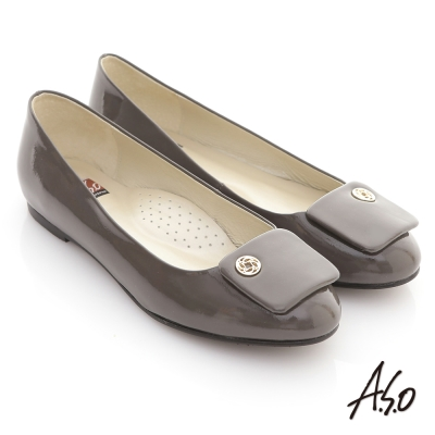 A.S.O 經典系列 全真皮鏡面簡約方釦窩心平底鞋 灰