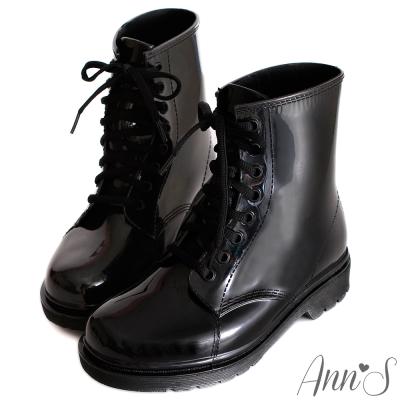 Ann'S可愛俐落-綁帶馬汀雨靴 全黑