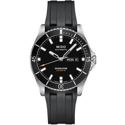 MIDO 美度 海洋之星 80動力 200米潛水機械錶-黑/42mm