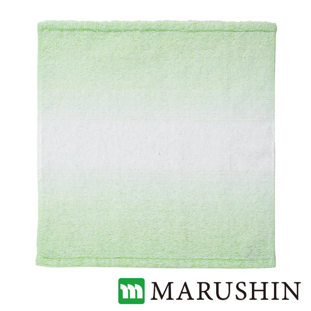 日本丸真今治保濕美肌漸層方巾-草綠
