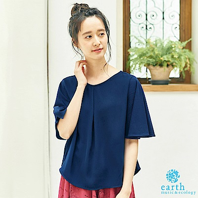 earth music 定番素面V領寬袖上衣