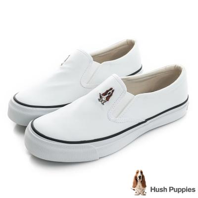 Hush Puppies 經典皮質中性咖啡紗懶人鞋-白色