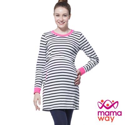 孕婦裝 哺乳衣 羅紋配色條紋長版孕哺上衣(共二色) Mamaway