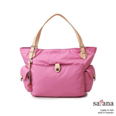 satana -929 Ladies 都會摩登 雙側口袋大托特包-凡爾賽玫瑰