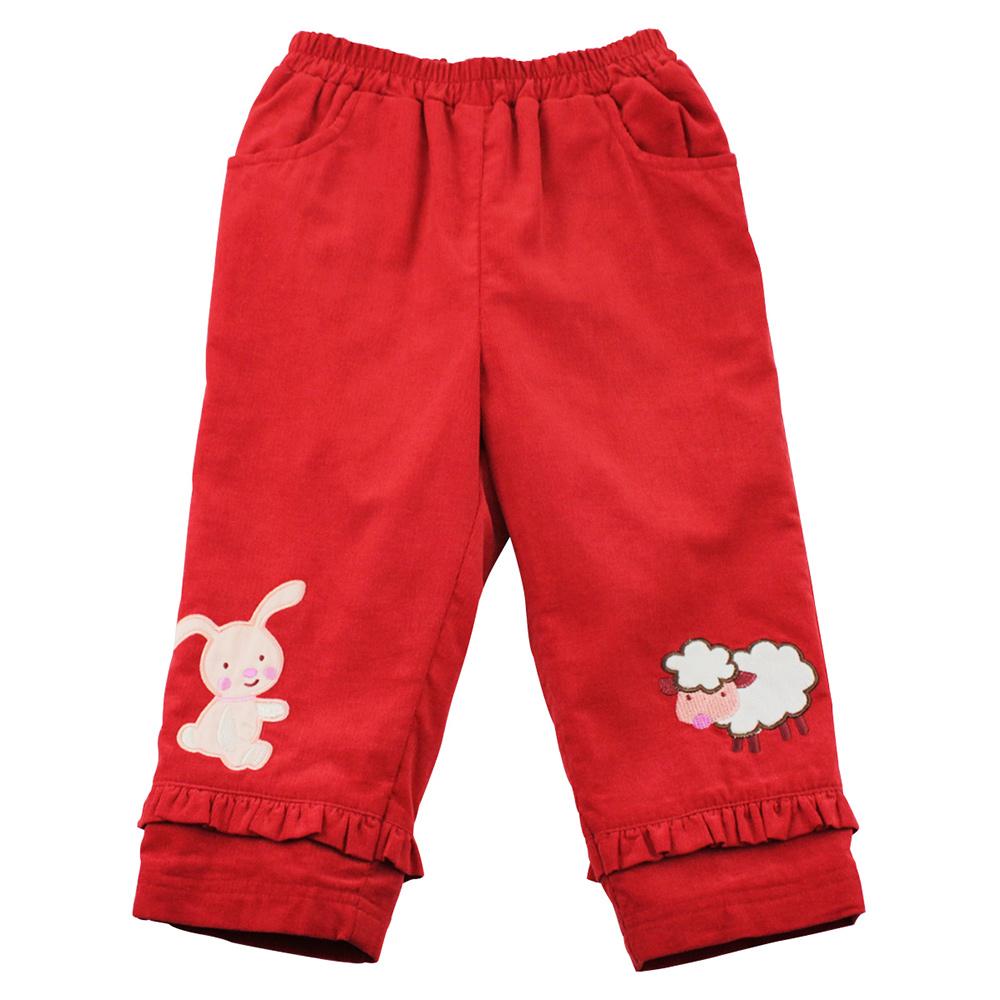 愛的世界 MYBEAR 純棉兔與羊鬆緊帶條絨口袋長褲/6-8歲-中國製-