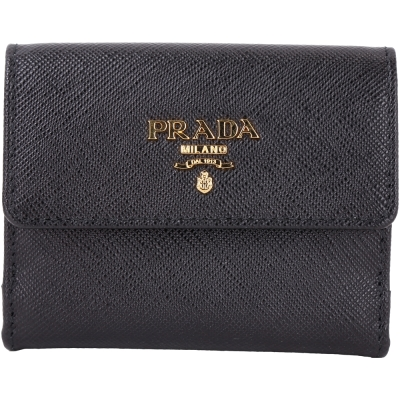 PRADA Saffiano 金字浮刻LOGO雙釦式萬用零錢包/卡夾(黑色)