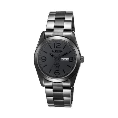 LICORNE 力抗錶 簡約時尚大數字男錶-黑鋼/40mm