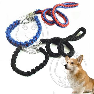 DYY》雙色八股繩P鏈中大型犬牽引帶XL號 120 * 2 . 5 CM