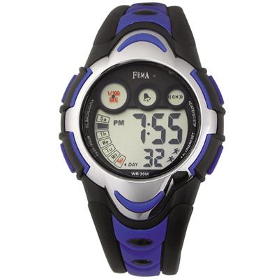 FEMA 可愛輕盈 計時鬧鈴 數位運動錶(P276G)-藍黑/34mm
