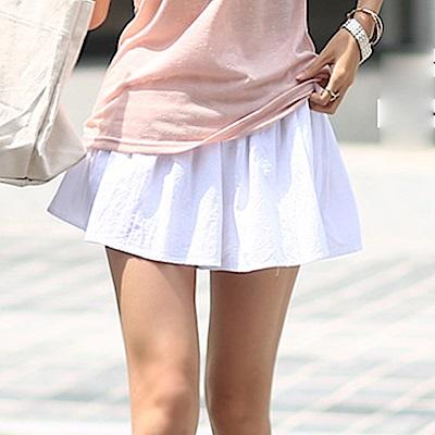 正韓 綁結鬆緊腰波浪寬管短裙褲 (共四色)-N.C21
