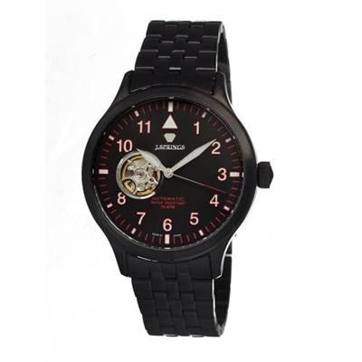 J.SPRINGS Semi-Skeleton 小鏤空機械腕錶-黑x紅刻度/42mm
