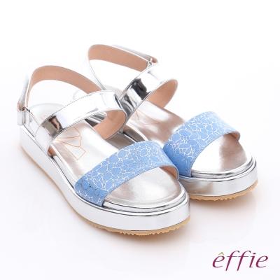 effie 休閒摩登 真皮金箔閃色一字厚底涼鞋 藍色