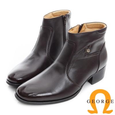 GEORGE 喬治-真皮短筒紳士靴-咖啡色
