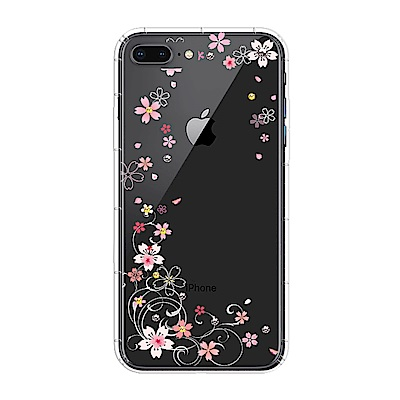 【SSTAR】iPhone 7Plus/8Plus 彩繪水鑽空壓防摔殼-櫻花舞