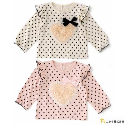 Nishiki 日本株式會社 點點雪紡紗愛心長袖上衣