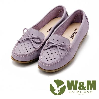 W&M 可水洗蝴蝶結洞洞豆豆鞋 女鞋-粉(另有綠/黃)