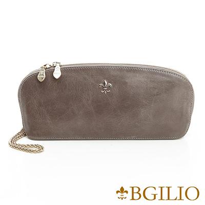 義大利BGilio-義大利蜡感裂紋牛皮貝殼手拿包-灰色-1944.004A-19