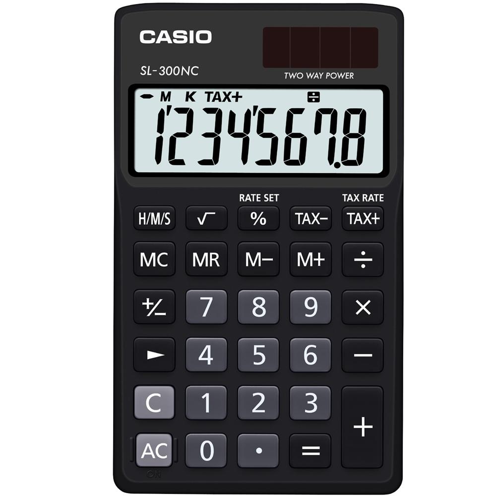 CASIO 8位數商務時尚輕巧攜帶型計算機(SL-300NC-BK)黑 .