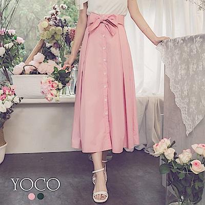 東京著衣-yoco 法國女孩棉感排釦蝴蝶結綁帶長裙-S.M.L(共二色)