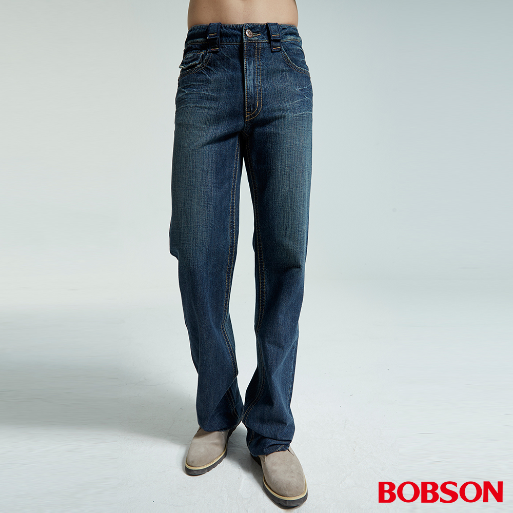 BOBSON 男款中直筒中藍色牛仔褲