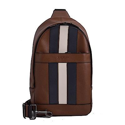 COACH 壓印LOGO拼色直條紋防刮皮革單肩後背/斜背包-棕色