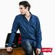 男款純棉滿版印花長袖工作襯衫-藍色-Levi