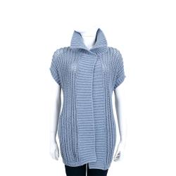 Max Mara 藍灰色針織短袖長版外套