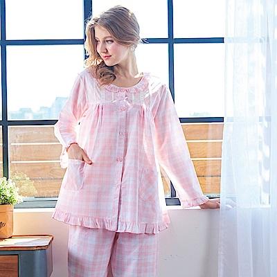 睡衣 精梳棉平織薄長袖兩件式睡衣(R77202-2夢幻粉紅格紋) 蕾妮塔塔