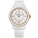 MIRRO 米羅 羅馬典雅藍寶石水晶玻璃日期陶瓷手錶- 白色/40mm