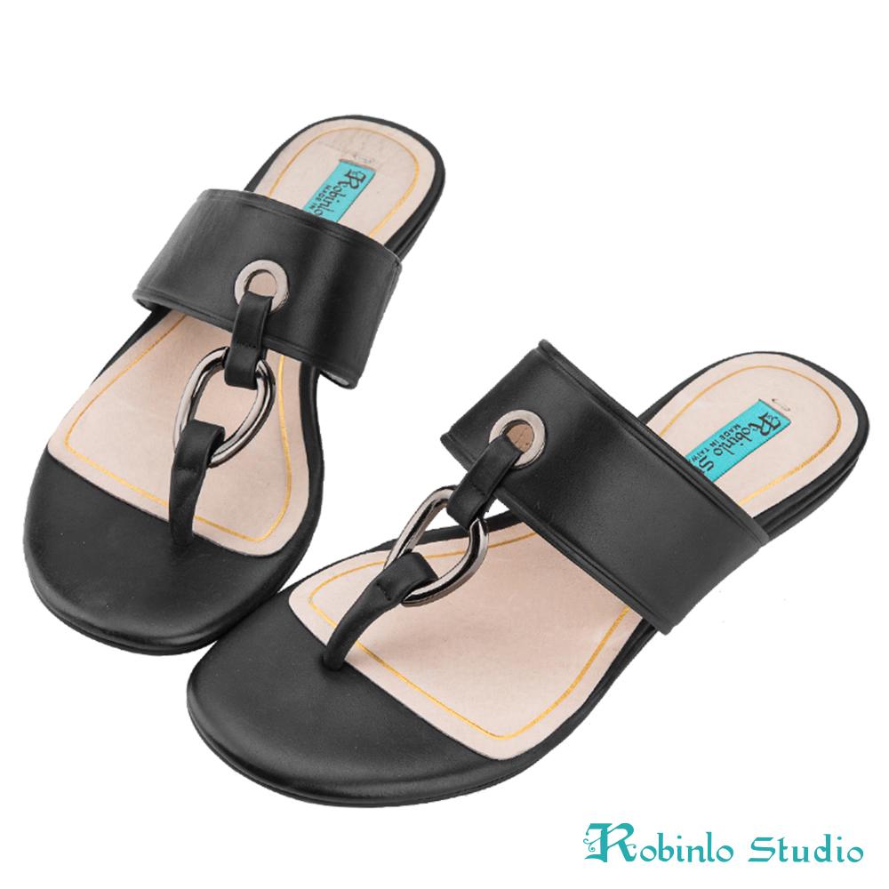 Robinlo Studio 全真牛皮羅馬風夾腳拖鞋 黑色