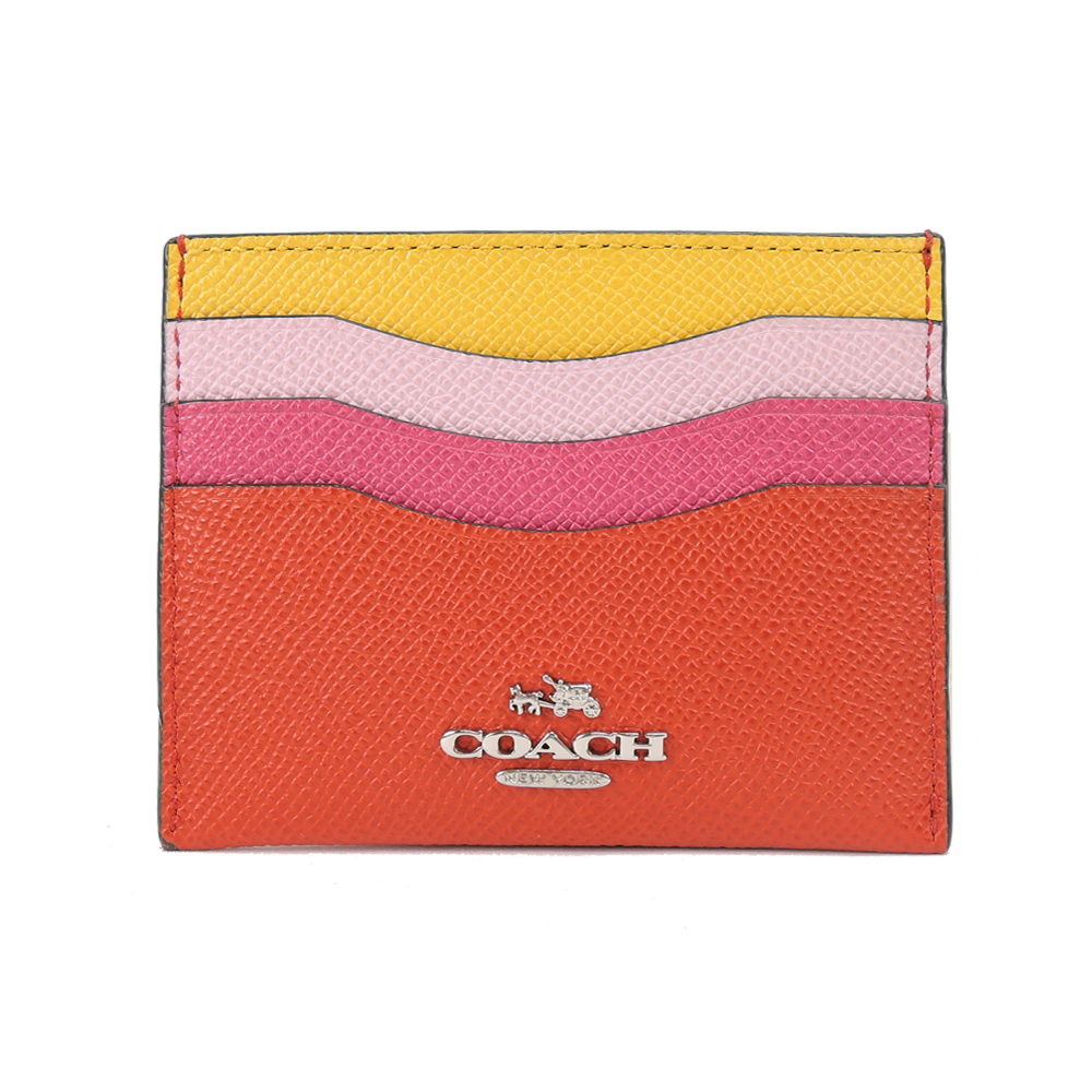 COACH 四色拼接防刮名片卡夾(黃粉紅)COACH