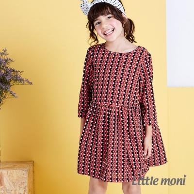 Little moni 清新典雅幾何七分袖洋裝 橙色
