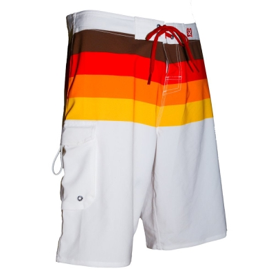 WAXX 多色條紋漸層紅高質感吸濕排汗男性衝浪褲