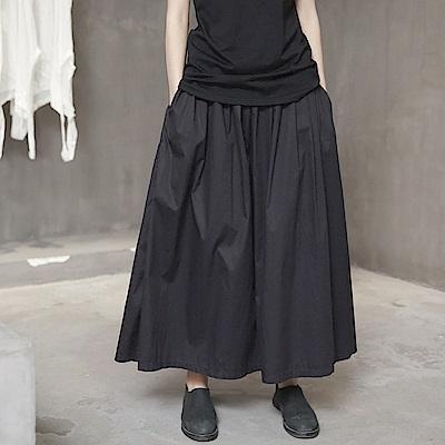 設計師風格蓬鬆褶皺薄棉中長裙-設計所在