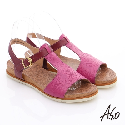 A.S.O 輕量樂活 真皮壓花木紋涼鞋 桃粉紅