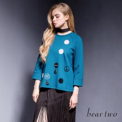 beartwo-彩色圓點流蘇吊飾造型上衣-二色