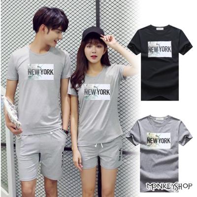Monkey Shop 正韓情侶NEW YORK自由女神印花短袖T恤-2色